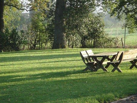 Park, Bank, Picnic, Wooden Bench, Table, Garden