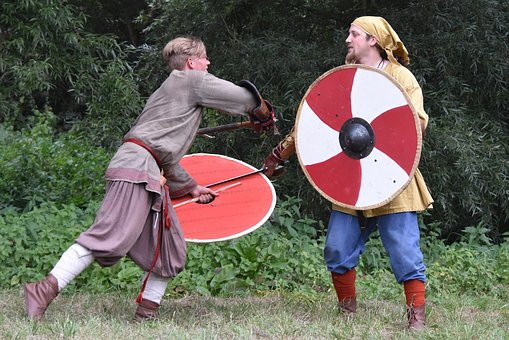 Man, Fighting, Sword, Outfit, Clothing, People, Shield