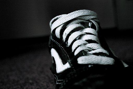 Shoe, Black White, Dark, Shoelace, New, Clean, Easily