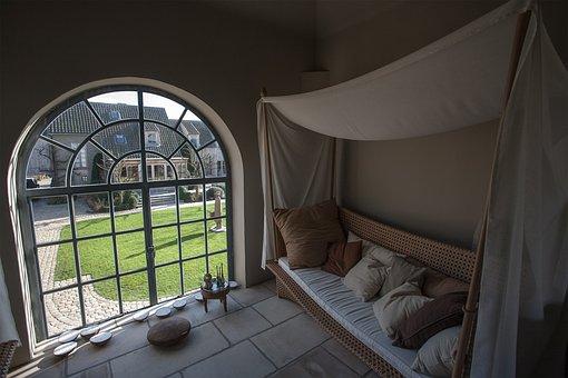 Window, Pillows, Interior, Arc, Divan, Relax, Rest Room