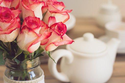 Roses, Bouquet, Tea Party, Teapot, Shabby Chic
