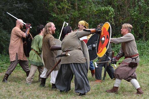Fight, Sword, People, Shield