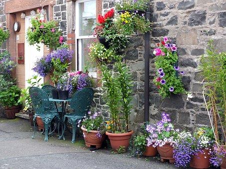 House, Home, Cottage, Brick, Stone, Flowers, Pots