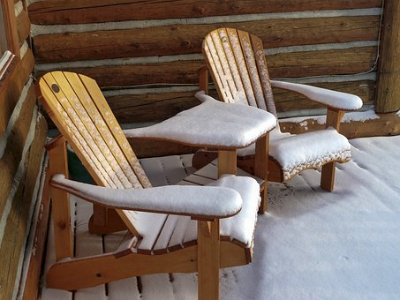 Wooden, Garden Chairs, Snow Covered, Log Home, Wood