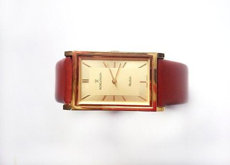 Clock, Wrist, Leather Belt, Strap, Gold Dial
