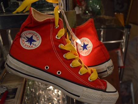 Converse, All Stars, Red, Shoelaces, Yellow, Fashion
