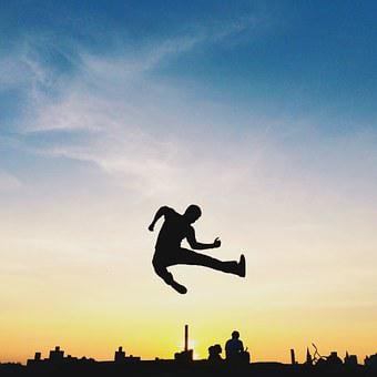 Person, Silhouette, Jump, Male, Young, Sky, Sunset, Joy