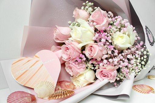 Shell, Rose, Gypsophila Paniculata, Bouquet, Pink