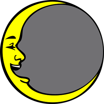 New Moon, Face, Laughing, Circle, Open Mouth, Yellow