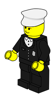 Policeman, Lego, Doll, Hat, Police, Man, Town
