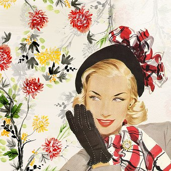 Vintage, Lady, Girl, Woman, Fifties, Hat, Glove, Bob