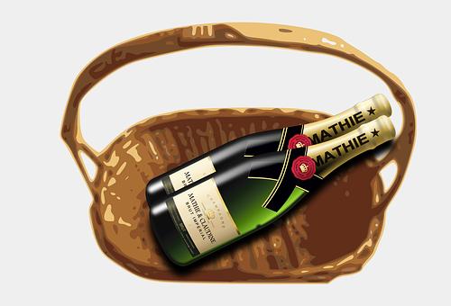 Basket, Bottle, Champaign, Container