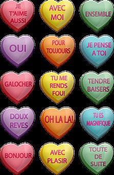 Conversation Hearts, Valentine French Words