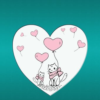 Heart, Balloons, Cat, Map, Sweet, Cute, Drawing