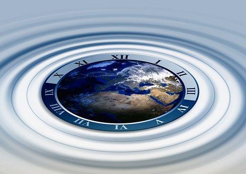Clock, Globe, Earth, World, Water, Wave