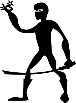 Ninja, Star, Silhouette, Cartoon, Sword, Katana