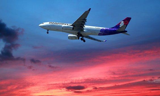 Transport, Sunset, Aircraft, Flight, Sky, Travel