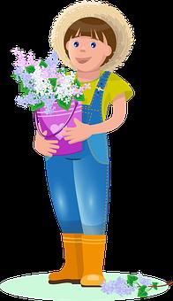 Spring, May, Boy, Gardener, Gardening, Lilac