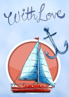 With Love, Happy, Birthday, Card, Greeting, Blue, Boat