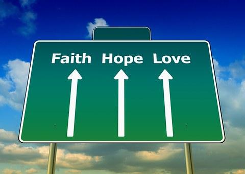 Faith, Love, Hope, Away, Straight, Road Sign, Sky
