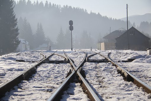 Snow, The Carpathians, Mountains, Nature, Railway, Fog