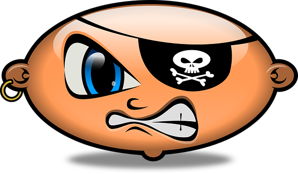 Pirate, Angry, Emoticon, Smiley, Smilies, Head