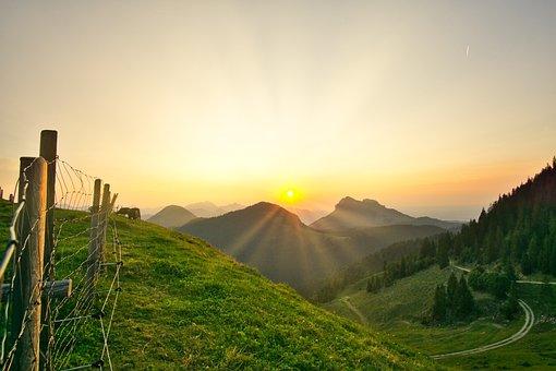 Mountains, Bavaria, Sunset Billy Goat, Sun, Valley