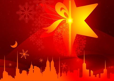 Red, Silhouette, Christmas, Star, Light, Advent, Tree