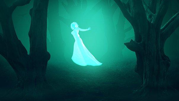 Green, Forest, Night, Fog, Woman, Girl, Ghost, Mystic