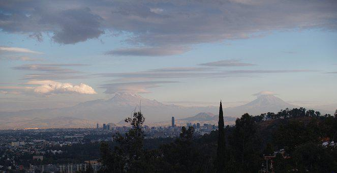 Mexico City, Volcanoes, Landscape, Moon, Clean
