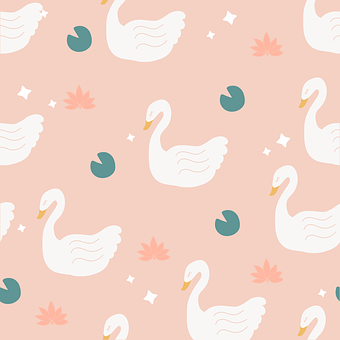 Swan, Lily Pad, Lily, Sparkle, Pattern