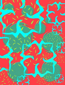 Abstract, Orange, Red, Green, Blue, Teal