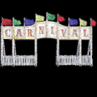 Carnival Entrance, Sign, Flags, Wooden, Banner, Enter