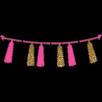Tassel, Garland, Pink, Black, Gold, Glitter, Decoration