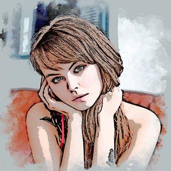 Vectorized, Art, Woman, Beauty, Girl, Portrait, Face