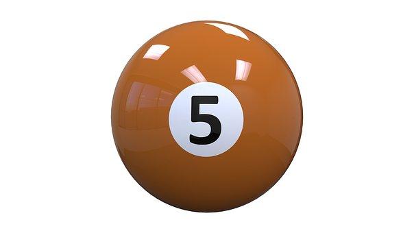 Billiards, Ball, Five, Orange, 5, 8-ball, Game, Sports