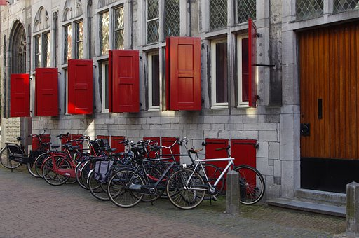Netherlands, Bicycles, The Window, Red