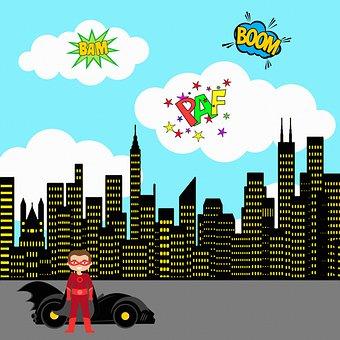 Superhero Background, City, Sky, Skyscraper, Lights