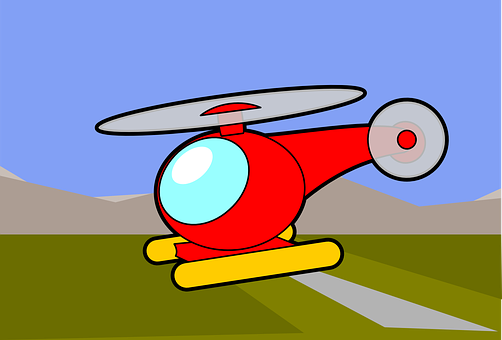Helicopter, Red, Colouring Book, Ine Art, Transport