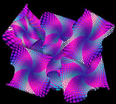 Purple, Blue, Pink, 3d, Abstract, Dots, Waves, Swirls