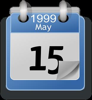 Date, Calendar, May, Tear-Away, 1999, 15