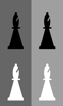 Chess, Bishop, Black, White, Game, Meeple, Gray Gaming
