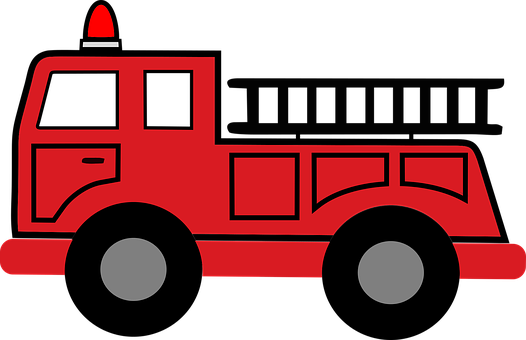 Fire Truck, Hook And Ladder, Emergency