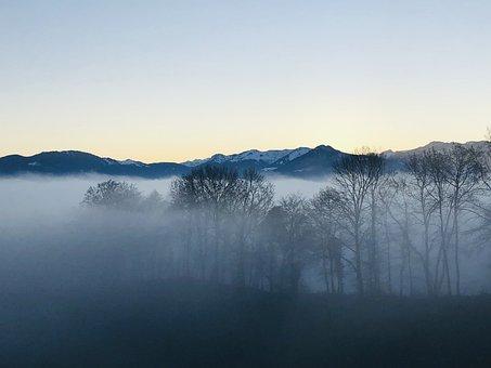 Fog, Mountains, Berneck, Sun Game, Light And Shadow