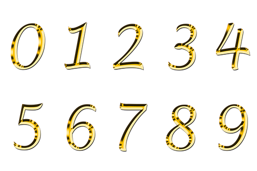 Pay, Isolated, 0, 1, 2, 3, 4, 5, 6, 7, 8, 9, Gold, Font