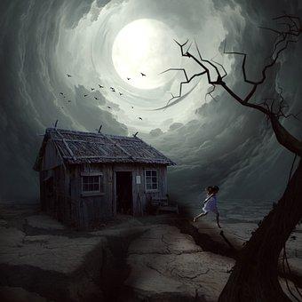 Horror, Girl, House, Scary, Tree, Moon, Gray Moon
