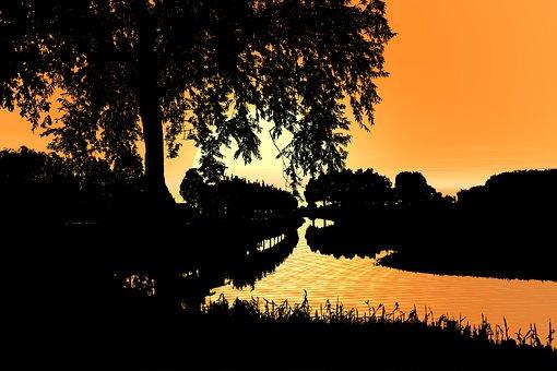 Sunset, River, Landscape, Nature, Evening