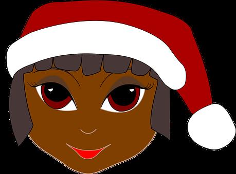 Girl, Santa Cap, Santa Hay, Wearing, Red, Xmas