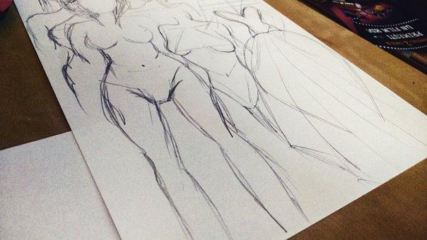 Drawing, Sketch, Pencil, Body, Artwork, Creative