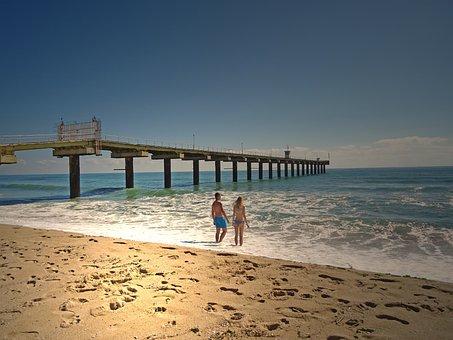 Sand, Couple, Bridge, Beach, Vacation, Beach Couple